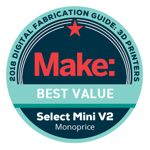 Makezine Best Value award 2018 Monoprice MP Select Mini V2
